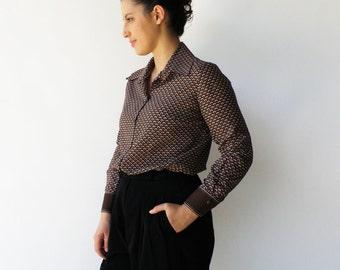 Vintage Brown Blouse / Button Up Shirt / Size M L