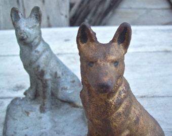 Vintage Cast Iron German Shepherd Bookends Dog Door Stop Unique Bookends