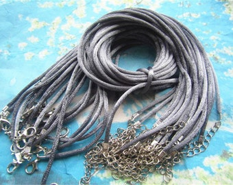 on sale 100pcs 24-26 inch adjustable 2mm dark grey satin necklace cords with lobster clasps