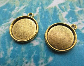 50pcs 16mm antiqued gold round picture/photo frame charms/pendants(fit 14mm cabochon)