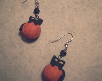 Halloween Black Cat Pumpkin Witchy Earrings - Handmade Clay