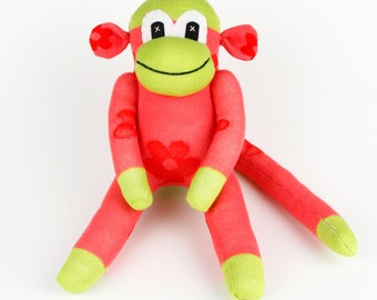 Get Well Christmas Gift Handmade Sock Monkey Stuffed Animal Doll Baby Girls Toys Birthday gift New year Gift