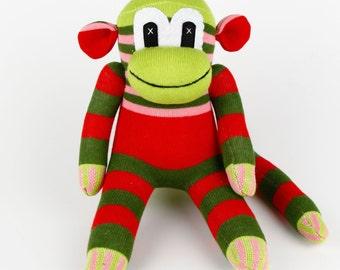 Christmas Gift Handmade Sock Monkey Stuffed Animal Doll Baby Toys Kids Birthday gift