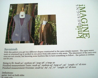 Tunic and Oversized top Knitting Patterns by Imagine Knit Designs, Savannah