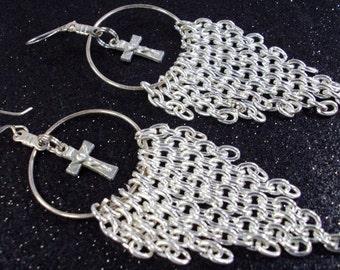 Silver Jesus on cross hoop long chain earrings