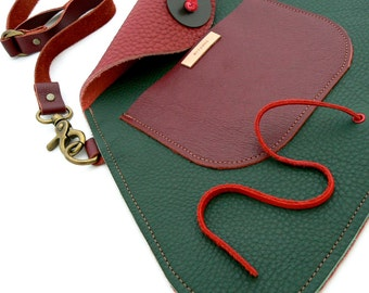 TRAPEZOID Collection Waist Bag in Forest Green and Red Wine