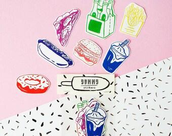 SALE - Yummy Sticker Pack -Set of 7 - Vinyl Stickers - Hand Drawn Sticker - Handmade Sticker - Food Sticker - Yummy Sticker