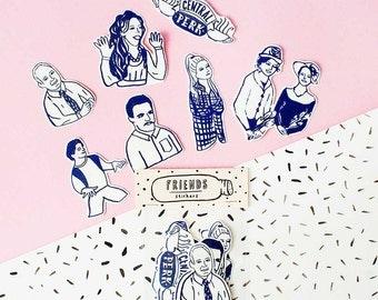 Other Friends Series - Sticker Pack -Set of 7 - Vinyl Stickers - Hand Drawn Sticker - Handmade Sticker - Friends Sticker