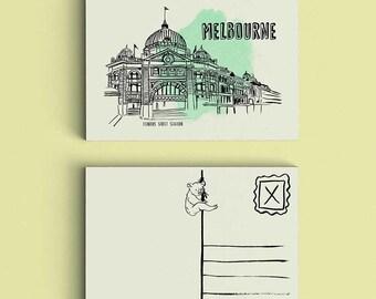 SALE - Melbourne Postcard - Australia Postcard - Travel Postcard - Small Art Print - Flinders Street Station