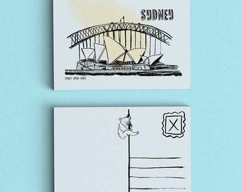SALE - Sydney Postcard - Australia Postcard - Travel Postcard - Small Art Print - Opera House Postcard - Sydney Harbour Bridge