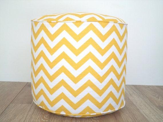 "Chevron pouf ottoman in yellow and white, round floor pouf 18"", yellow and white  pouf, chevron floor cushion, nusery pouf in zigzag print"