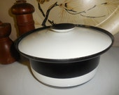 Enamel Black and White Pot with Lid