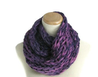 Sale Purple Infinity Scarf, Circle Scarf, Hand Knit Cowl, Knit Infinity Scarf, Gift For Her, Fashion Accessory,  Knitted Scarf, Fiber Art
