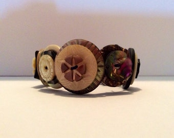 Button Bracelet made with Antique Buttons