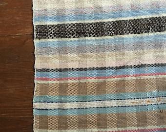 Vintage woven rug runner homespun multi color