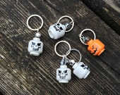Lego Head Stitch Markers - Set of Five - Skeleton Heads and Pumpkin