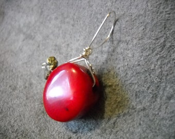 Red Coral and Pyrite Pendant on silver plated wire