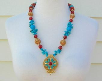 BEAUTIFUL Tibetan Gold Amulet Box - Turquoise & Carnelian Stones, Gold, Carnelian, Turquoise Beads, Statement Necklace Set by SandraDesigns