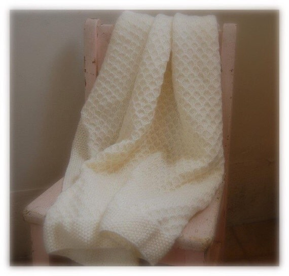 Cream Ivory Off-White Honeycomb Quilted Lattice Baby Blanket Newborn Blanket