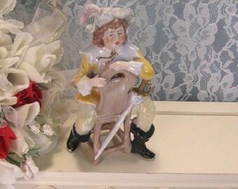 Antique Unger Schneide Porcelain Figurine, Germany Soldier Sword on Chair, Continental Figurine, Victorian Decor, Shelf Mantle Figurine 1880