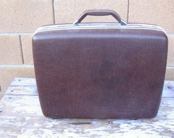 Vintage Samsonite Courier II Suitcase Hard Sided Luggage, Dark Brown Shell Case, Medium Size, Mid Century Luggage Suitcase, Overnight Bag