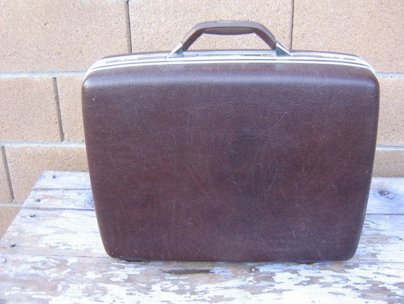 Vintage Samsonite Courier II Suitcase Hard Sided Luggage Dark