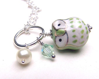 Swarovski Girls Owl Necklace Kids Owl Jewelry