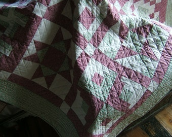 Sampler Quilt in Pink, Green and White  /Item #19