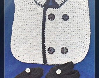 Little Chef Bib and Booties Crochet Pattern - INSTANT DOWNLOAD  - PDF