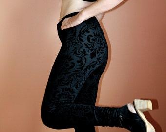 Matte Black Velvet Damask Burnout High-Waisted Leggings
