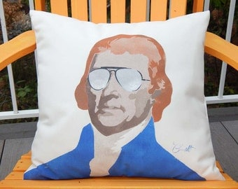 """Outdoor pillow THOMAS JEFFERSON 20"""" (50cm) third U.S. President ginger author Declaration of Independence patriot Mt. Rushmore Crabby Chris"""