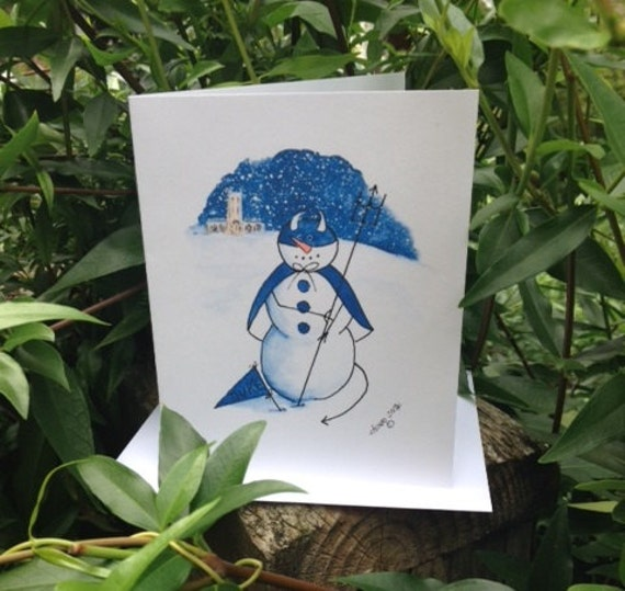 Mascot Series - Duke Blue Devil note cards with Chapel in background