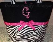 Animal print baby bag diaper bag Zebra zebra pink dots diaper bag or large tote you choose large applique letter