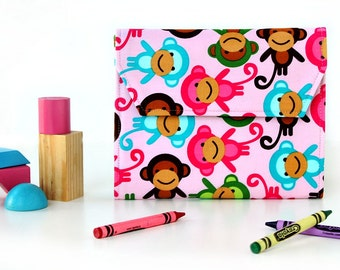 Monkeys Deluxe Crayon Wallet with option to add a name, Easter gift, Crayon organizer, Art wallet, Crayon keeper, Handmade toy, Art toy