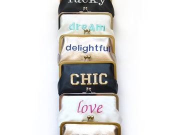 Monogram  Clutch Word Custom Quote Personalized Clutches Message Statement Bags Purses Bridesmaids Gift Handbag Faux Leather