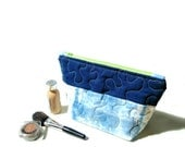 Cosmetic bag, zipper pouch, Shibori Indigo blue, linen cotton quilted cosmetic bag, travel toiletry bag, bridesmaids gifts under 30