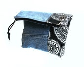 Denim clutch bag, black white paisley, Autumn purse, fold over bag, zipper pouch, recycled denim jeans, casual clutch, handbag