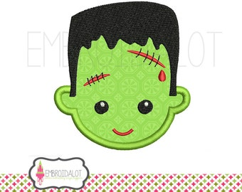 Frankenstein applique embroidery design. Cute Frankenstein embroidery. Halloween applique in 2 sizes.