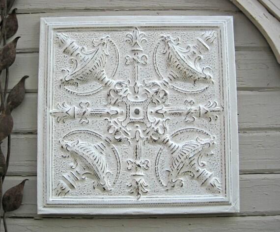 White Tin Wall Decor : Metal wall decor tin ceiling tile old texas architectural