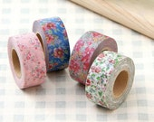Mark's Japanese Washi Masking Tape - Romantic Flowers 15mm wide for packaging, party deco, crafting