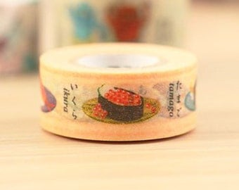 Mark's Japanese Washi Masking Tape - Japan Series-Sushi 15mm wide for packaging, party deco, crafting
