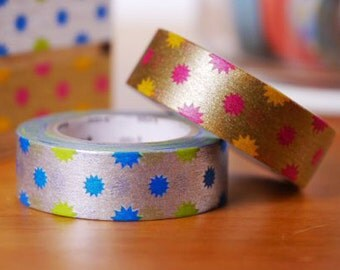 MT 2015 New - Japanese Washi Masking Tape / Glitter Silver or Gold for scrapbooking, packaging, party deco, card making