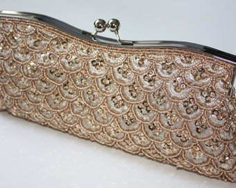 Bridal Clutch - hand beaded champagne satin with beads and sequins -ready to ship