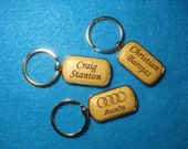 Personalized Rectangular Wood Car Logo Key Chain - Laser Engraved .  Great Gift for Him or Her.