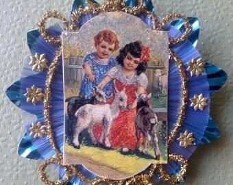 Vintage Look Christmas Ornament Victorian-Vintage 1911 Card W/Girls,Baby Goats,German Dresdens,German Tinsel,Spun Glass,Vintage Reflector