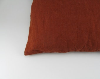 Handmade Decorative Linen Pillow Cover / Throw Pillow Cover / Cushion Case / Accent Pillow --- Rust