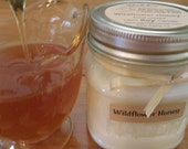 Wildflower Honey Soy Candle - Vintage Style Mason Jar - 100% Natural Soy