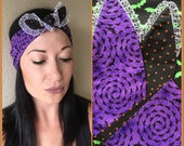 Halloween Bandana Head Wrap Bats Polka Dots Purple Black Orange Lace