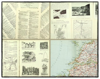 Vintage paper pack, 25 gazetteer pages with old pictures, vintage maps and geography text on the British Isles, art and craft paper.