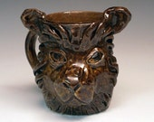 Lion Face Mug - Handmade OOAK ceramic